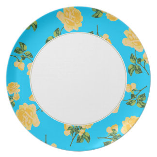 Yellow roses Floral pattern on blue & white plate