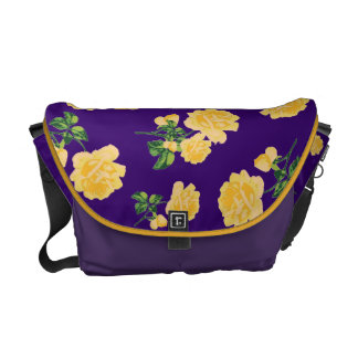 Yellow roses Floral pattern on purple bag