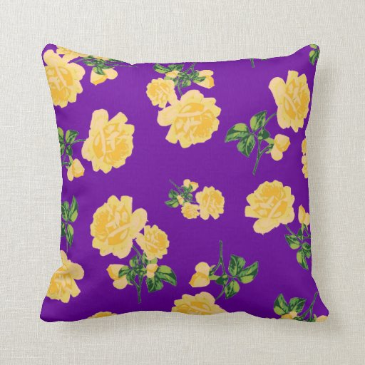 Yellow roses Floral pattern on purple pillow