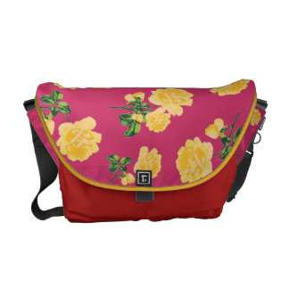 Yellow roses Floral pattern on red bag