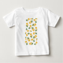 Yellow roses Floral pattern on white Baby T-Shirt