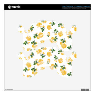 Yellow roses Floral pattern on white PS3 Controller Skins