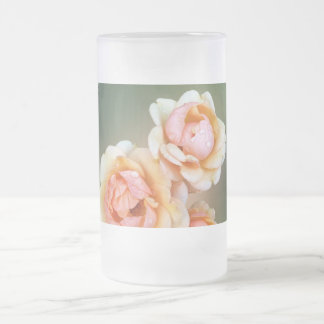 yellow roses frosted glass beer mug