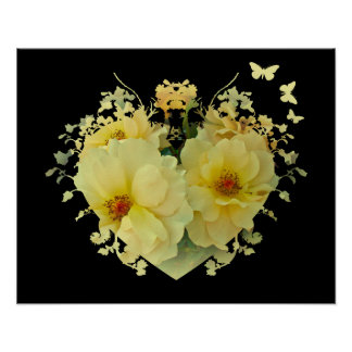 Yellow Roses Heart on Black Poster