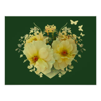 Yellow Roses Heart on Green Poster