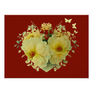 Yellow Roses Heart on Red Poster