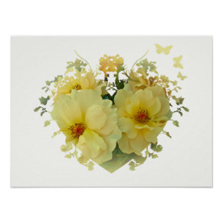Yellow Roses Heart on White Poster
