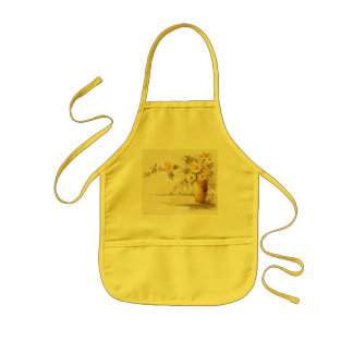 Yellow Roses in a Pottery Vase Kids' Apron