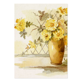 Yellow Roses in a Pottery Vase Large Business Card