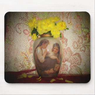 Yellow Roses in Old Vase Mouse Pad