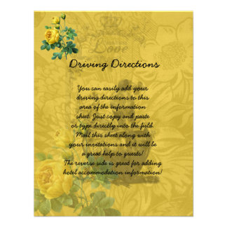 Yellow Roses Informational Sheet Personalized Invitations