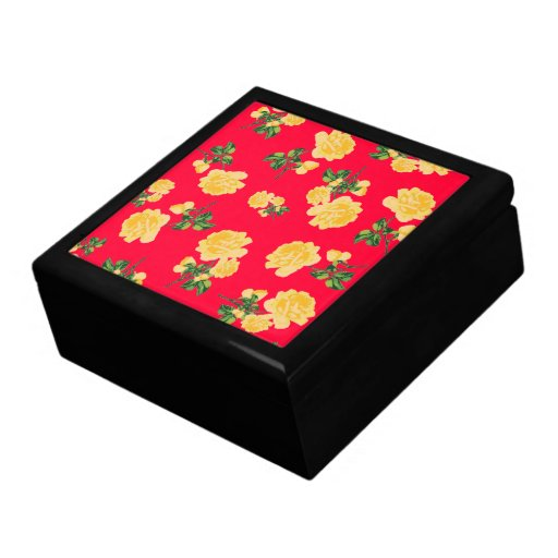 Yellow Roses jewelry / gift box - Chinese red