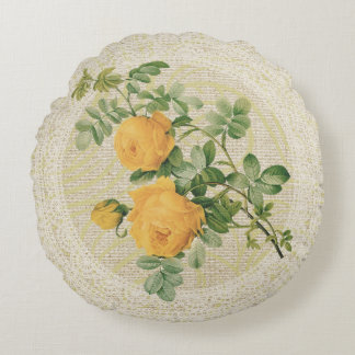Yellow roses & lace floral vintage pillow