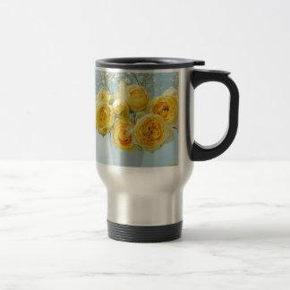 Yellow roses ON a blue background Travel Mug