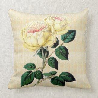 Yellow Roses on Cream Botanical Throw Pillow 2