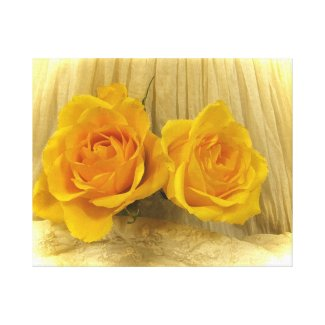 Yellow Roses on Lace Gallery Wrapped Canvas