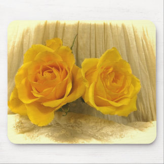 Yellow Roses on Lace Mouse Pad