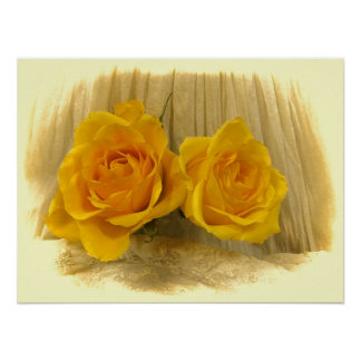 Yellow Roses on Lace Poster