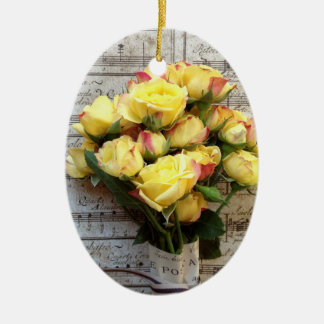 Yellow roses on old music ceramic ornament