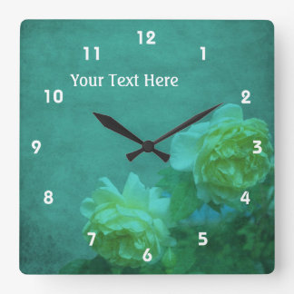 Yellow Roses On Turquoise Square Wall Clock