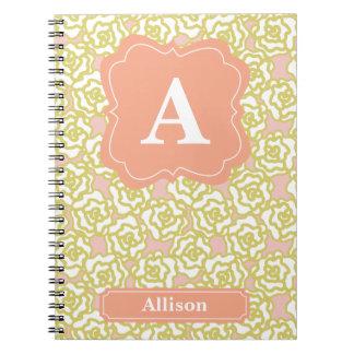 Yellow Roses Orange Monogram Spiral Notebook