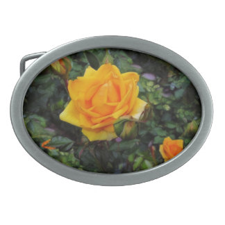 Yellow Roses Oval Belt Buckle