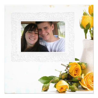 yellow roses photo greeting card personalized invite