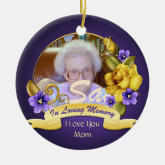 Yellow Roses Purple Pansies In Loving Memory Double-Sided Ceramic Round Christmas Ornament