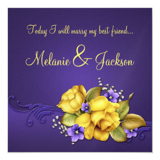 Yellow Roses Purple Pansies Post Wedding 5.25x5.25 Square Paper Invitation Card
