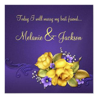 Yellow Roses Purple Pansies Post Wedding Invitation