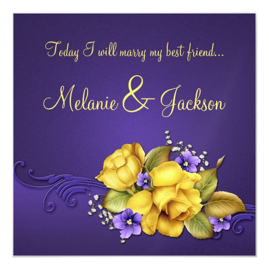 Yellow Roses Purple Pansies Post Wedding Invitation
