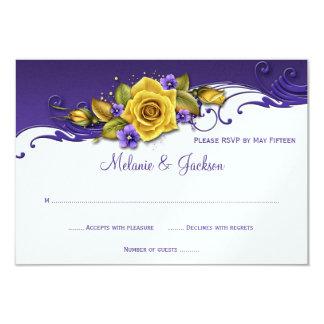Yellow Roses Purple Pansies RSVP 3.5x5 Paper Invitation Card