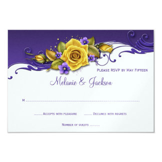 Yellow Roses Purple Pansies RSVP Invitations