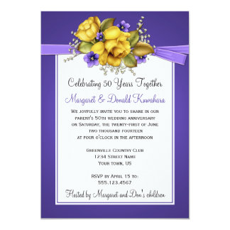 Yellow Roses Purple Violets 50th Anniversary Personalized Announcement