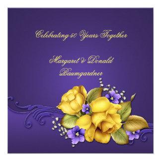 Yellow Roses Purple Violets 50th Anniversary Personalized Invite