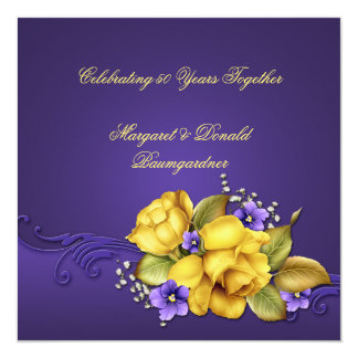Yellow Roses Purple Violets 50th Anniversary Invitation