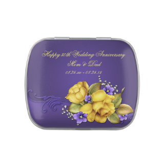Yellow Roses Purple Violets 50th Wedding Anniversa Jelly Belly Tin