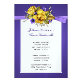 Yellow Roses Purple Violets Post Wedding Announcements