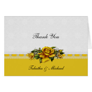 Yellow Roses Ribbons Lace Thank You Card