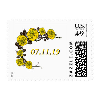 Yellow Roses Save the Date Postage
