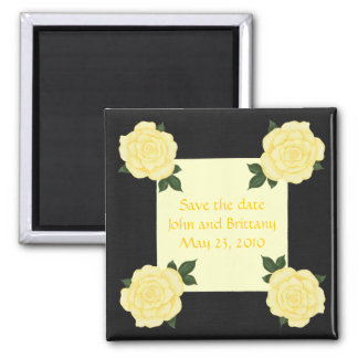 Yellow roses, Save the date wedding magnets