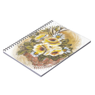 yellow roses spiral notebooks