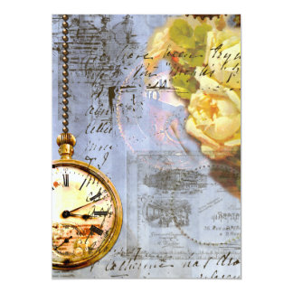 "Yellow Roses & Steampunk Invites 5"" X 7"" Invitation Card"