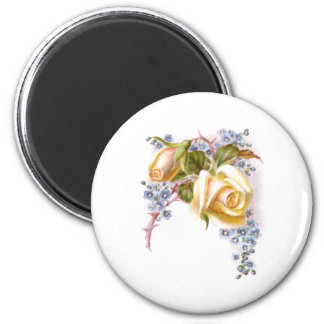 Yellow Roses Victorian Trade Card 2 Inch Round Magnet