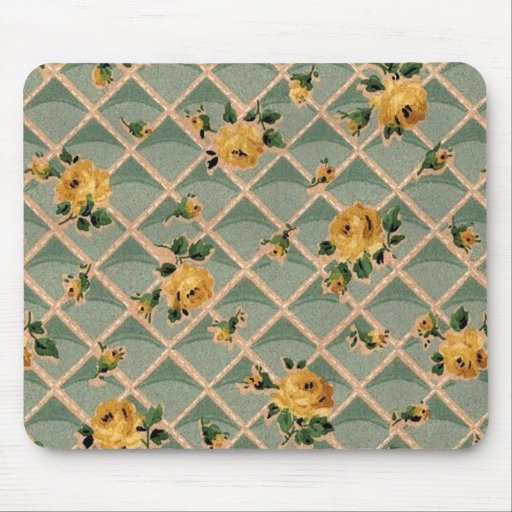 Yellow Roses Vintage Wallpaper - Mousepad