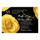 Yellow Roses Wedding Invitation Metallic