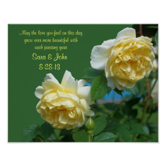 Yellow Roses Wedding Or Anniversary Poster