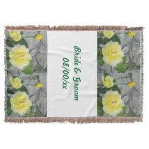 Yellow Roses Wedding Throw Blanket