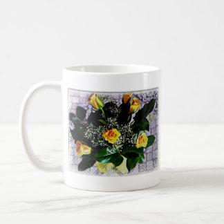 yellow roses & white lace mug