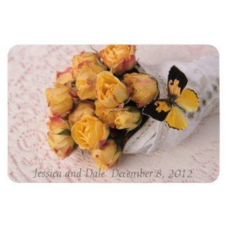 yellow roses with butterfly flexible magnet
